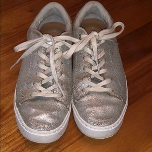 Distressed silver sneakers
